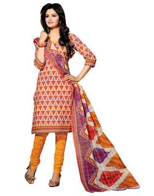 Orange Colored Cotton Unstitched Salwar Kameez