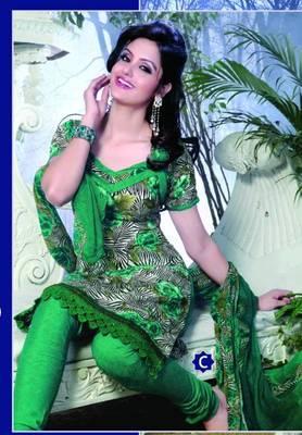 Spun Cotton Lacer Salwar Kameez Churidar Dress Meterial SC1052C