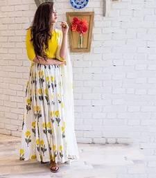 Buy Yellow bhagalpuri silk embroidered semi stitched salwar with dupatta anarkali-salwar-kameez online