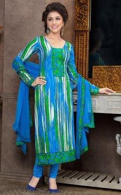 Hypnotex Blue Pure Cotton Anarkali Salwar Kameez Aarti 7334A