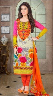 Hypnotex Gray Pure Cotton Anarkali Salwar Kameez Aarti 7335A