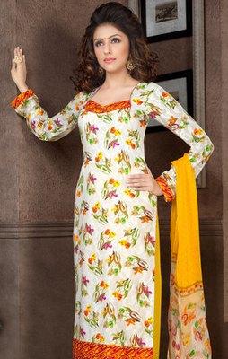 Hypnotex Off White Pure Cotton Anarkali Salwar Kameez Aarti 7337A