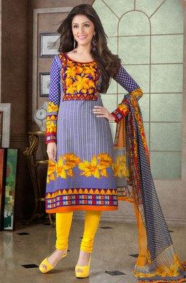 Hypnotex Blue Pure Cotton Anarkali Salwar Kameez Aarti 7338A