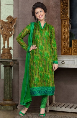 Hypnotex Green Pure Cotton Anarkali Salwar Kameez Aarti 7339A