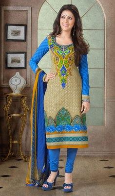 Hypnotex Cream Pure Cotton Anarkali Salwar Kameez Aarti 7340A