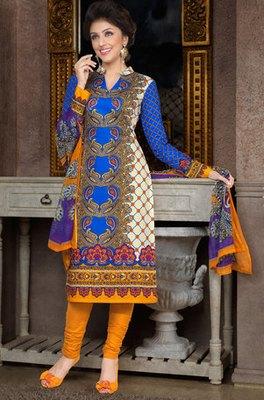 Hypnotex Blue Pure Cotton Anarkali Salwar Kameez Aarti 7343A
