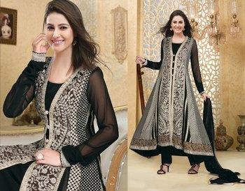 Hypnotex Black Georgette Semi Stitch Dress Avtar 102