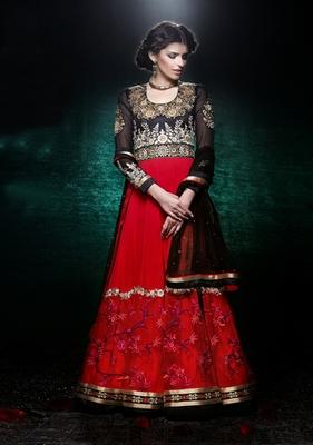 Hypnotex Maroon Georgette Net Semi Stitch Dress material Rajwadi 302