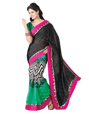 Dealtz Fashion Bhagalpuri Silk Black & Green Saree