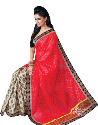 Dealtz Fashion Bhagalpuri Jacquard  Multi Colour Saree