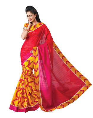 Dealtz Fashion Bhagalpuri Silk Coral & Yellow Saree
