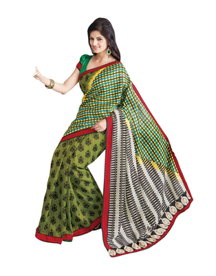 Dealtz Fashion Bhagalpuri Silk Multi Colour Saree