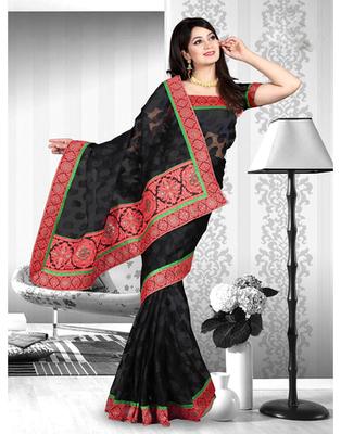 Dealtz Fashion Banarasi Butta Jacquard Saree With Short Pallu And Lace