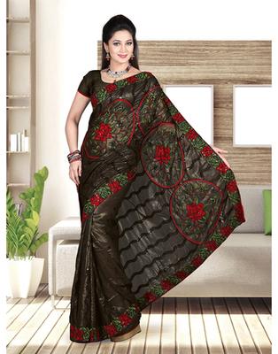 Dealtz Fashion Black Shimmer Gerogtte Parsi Boder Saree