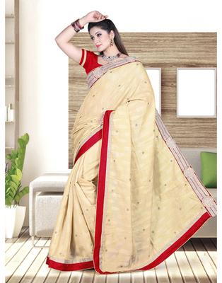Dealtz Fashion Bhagalpuri Saree With Crystal Work In Body And Short Palluand Lace Of Banarsi Brokade