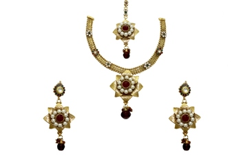 Double Star Multicolour Pearl Women Necklace Set