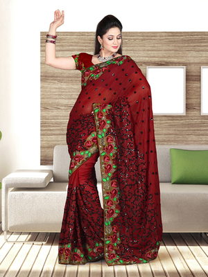 Dealtz Fashion Maroon Shimmer Gerogtte Parsi Boder Saree