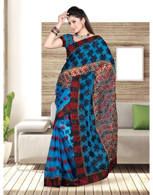 Dealtz Fashion Phirogi Nett And  Gerogtte Patch Shiffli Boder Saree
