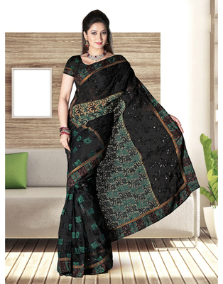 Dealtz Fashion Black Nett And  Gerogtte Patch Shiffli Boder Saree
