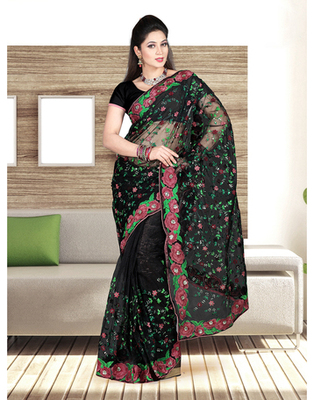 Dealtz Fashion Black Nett Parsi Border And Jall Work Saree