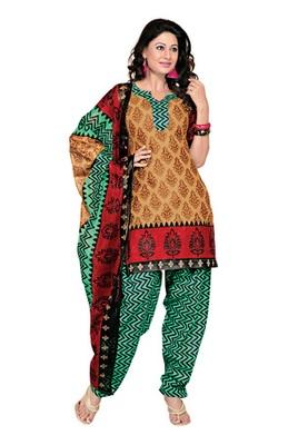 Dealtz Fashion Light Brown Cotton Printed Salwar Kameez - Dress Material