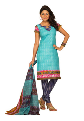Dealtz Fashion Sky Blue Cotton Printed Salwar Kameez - Dress Material