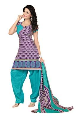 Dealtz Fashion Purple Cotton Printed Salwar Kameez - Dress Material