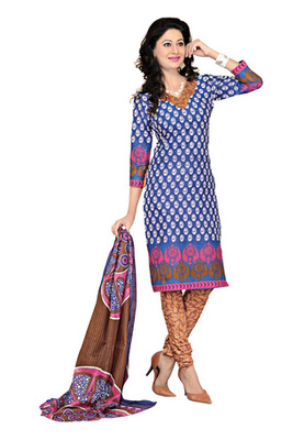 Dealtz Fashion Blue Cotton Printed Salwar Kameez - Dress Material