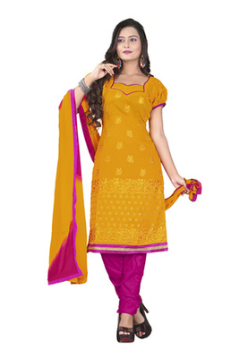 Dealtz Fashion Orange Colored Chanderi Silk Embroidered Unstitched Salwar Kameez