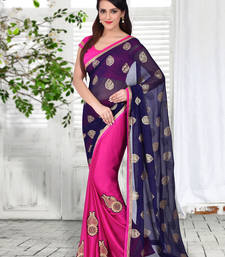 Buy Blue  and  Violet Embroidered Georgette saree with blouse party-wear-saree online