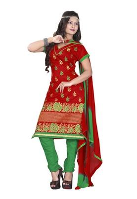 Dealtz Fashion Red Colored Chanderi Silk Embroidered Unstitched Salwar Kameez