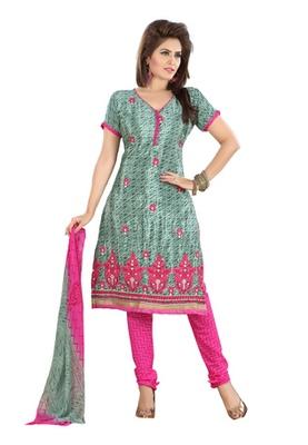 Dealtz Fashion Green Colored Crepe Jacquard Embroidered Unstitched Salwar Kameez