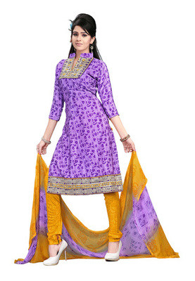 Dealtz Fashion Light Purple  Colored Crepe Jacquard Embroidered Unstitched Salwar Kameez