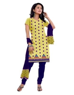 Salwar Studio Yellow & Blue Cotton unstitched churidar kameez with dupatta ES-9048