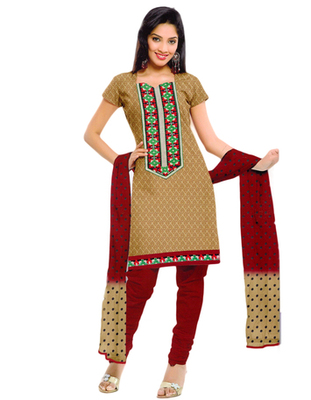 Salwar Studio Beige & Red Cotton unstitched churidar kameez with dupatta ES-9054