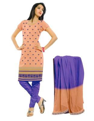 Salwar Studio Peach & Lavender Cotton unstitched churidar kameez with dupatta ES-9056