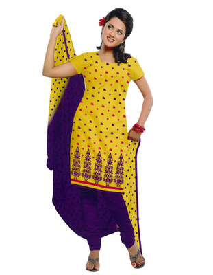 Salwar Studio Yellow & Blue Cotton unstitched churidar kameez with dupatta ES-9058