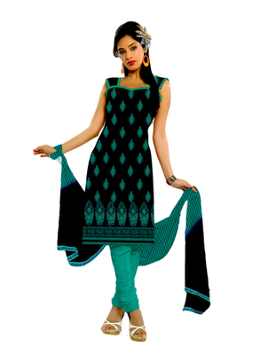 Salwar Studio Black & Green Cotton unstitched churidar kameez with dupatta ES-9062