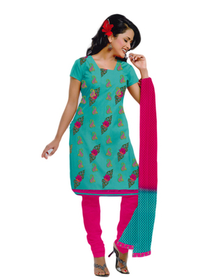 Salwar Studio Pista & Pink Cotton unstitched churidar kameez with dupatta ES-9063
