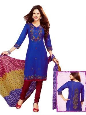 Salwar Studio Blue & Maroon Cotton Printed unstitched churidar kameez with dupatta MCM-4401