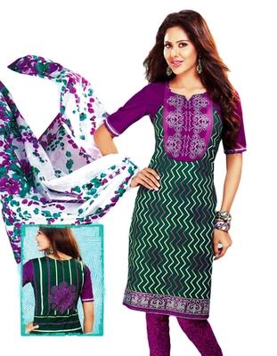 Salwar Studio Green & Magenta Cotton Printed unstitched churidar kameez with dupatta MCM-4410