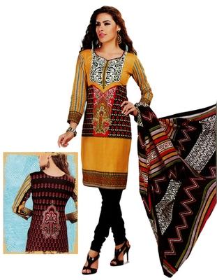 Salwar Studio Off White & Green Cotton Printed unstitched churidar kameez with dupatta MCM-4411