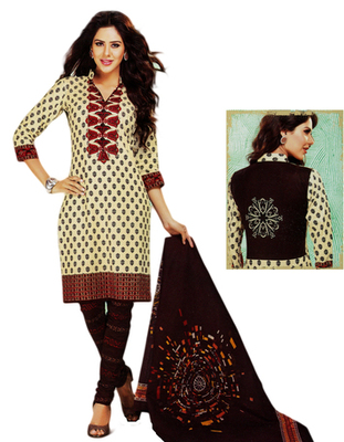 Salwar Studio Fawn & Black Cotton Printed unstitched churidar kameez with dupatta MCM-4412