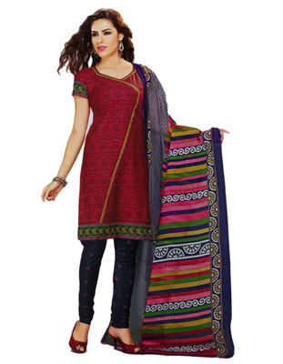 Salwar Studio Red & Navy Blue Cotton Printed unstitched churidar kameez with dupatta MCM-4416
