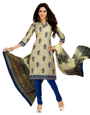 Salwar Studio Fawn & Blue Cotton Printed unstitched churidar kameez with dupatta MCM-4417