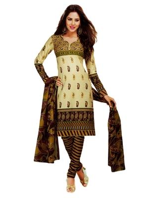 Salwar Studio Beige & Brown Cotton Printed unstitched churidar kameez with dupatta MCM-4421