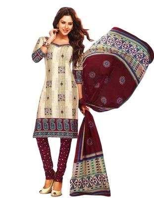 Salwar Studio Fawn & Maroon Cotton Printed unstitched churidar kameez with dupatta MCM-4424