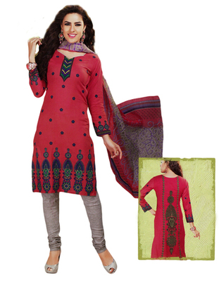 Salwar Studio Peach & Grey Cotton Printed unstitched churidar kameez with dupatta MCM-4426