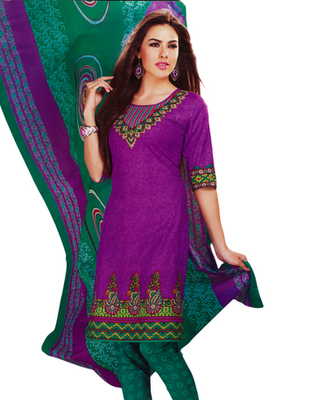 Salwar Studio Magenta & Green Cotton Printed unstitched churidar kameez with dupatta MCM-4428