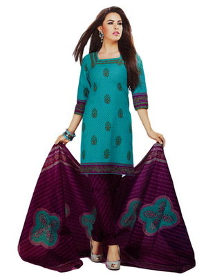 Salwar Studio Aqua Blue & Magenta Cotton Printed unstitched churidar kameez with dupatta MCM-4430